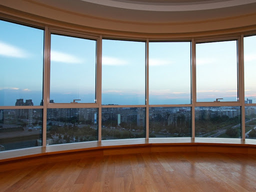Big glass wall in oval living room with view; Shutterstock ID 91043630; PO: The Huffington Post; Job: The Huffington Post; Client: The Huffington Post; Other: The Huffington Post